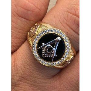 Harlembling Men Mason Masonic G Black Onyx Ring